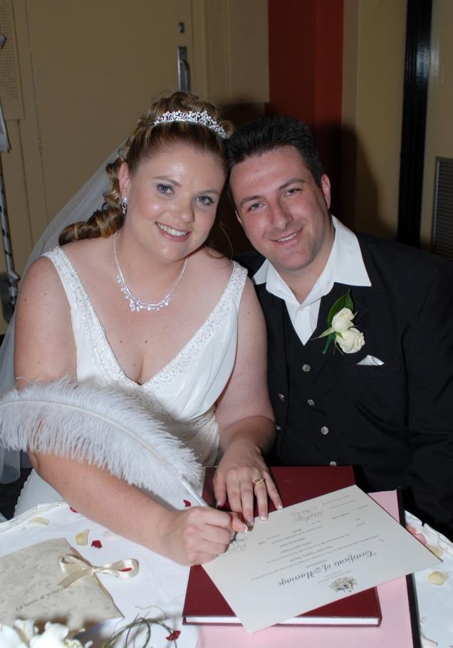 Melissa and Ash sining register